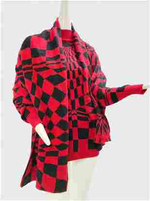 1980 Gianni Versace Checkered Sweater and Shawl Set