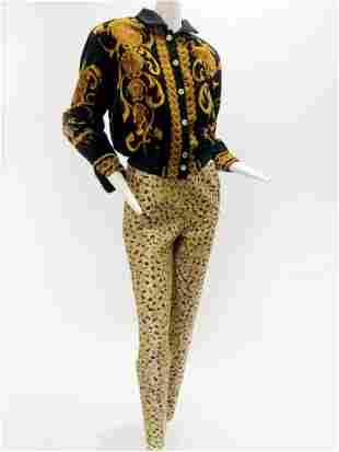 1980 Escada Black Bomber w/ Bill Blass Metallic Leopard