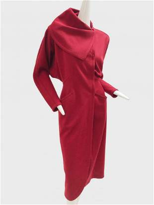 1980 Gianni Versace Red Knit Coat Dress