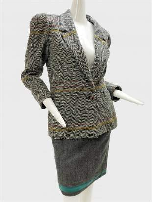 1980 Gianni Versace Wool Skirt and Blazer Suit