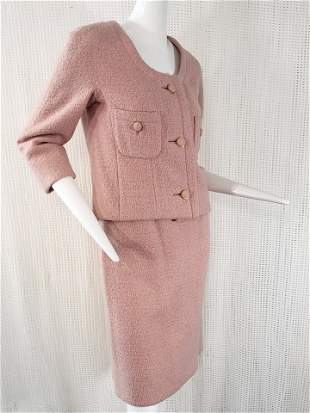 1960 Christian Dior Wool Skirt Suit in Antique Pink