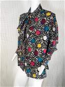 1980s Ungaro Bold Polka Dot Silk Blouse w/ Bow