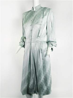 1980s Andre Laug Mint Green Silk Day Dress