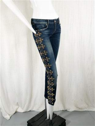 Dishe Skinny Jeans w/ Rhinestone & Stud Embellishment