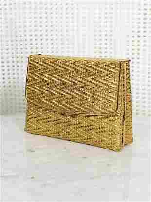1960  Gold Metal Basket Weave Evening Clutch w/ Mirror