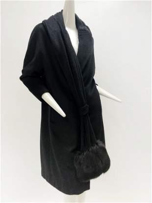 1960 Lilli Ann Black Coat with Fox Fur Trimmed Foulard