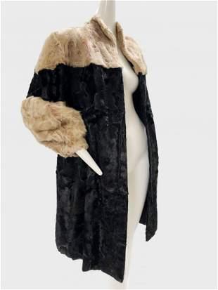 1940 Artic Fur Co. Black and Cream Fur Coat