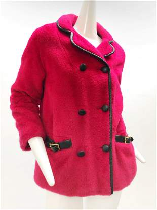 1960 Fuchsia Pink Wool Coat Trimmed with Black Leather