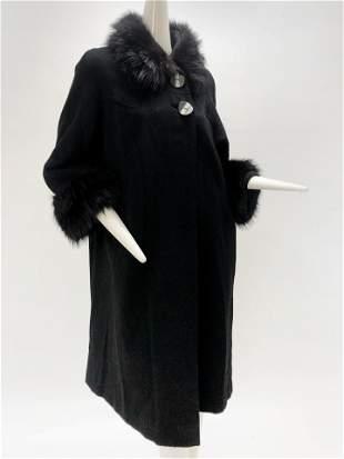 1950 Black Wool Coat Black Fox Fur Collar and Cuffs