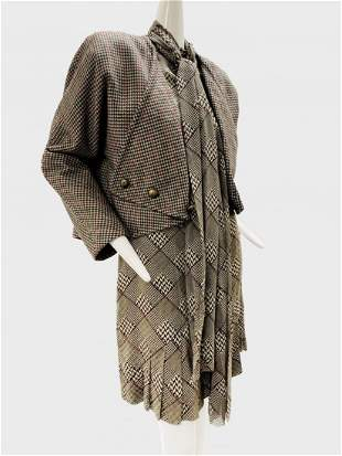 1980 Galanos Wool Houndstooth Jacket and Silk Dress