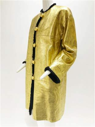 1980 Yves Saint Laurent Antique-Gold Leather Coat