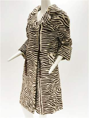 1960 Gptyker Zebra Patterned Rabbit Fur Coat