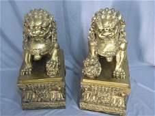 Pair Asian Statuary Foo Dogs