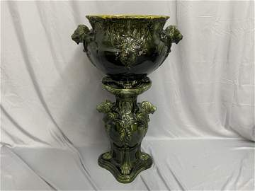 Majolica Jardinere and Pedestal with Lion