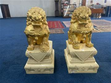 Large Pair of Foo Dogs on Base