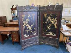 Circa 1890 Japanese Carved and Lacquered Screen