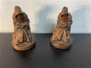 Pair Of Art Bronze Monk Bookends