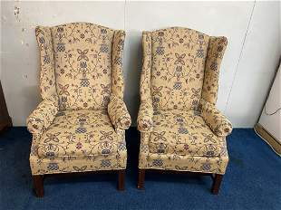 Pair Of Johnston Bench Works Upholstered Wing Chairs