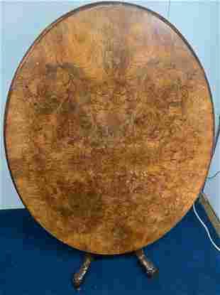 Large Antique Burl Walnut Tilt Top Table