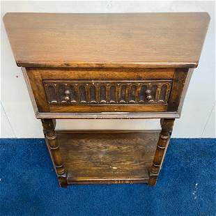 Antique Oak One Drawer Stand