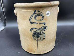 Antique Stoneware Crock With Blue