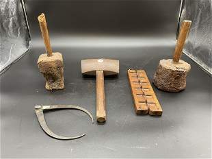 Grouping Of Antique Woodenware Plus