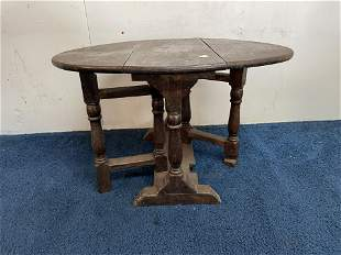 19th Century Childs Carved Oak Drop Leaf Table