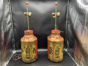 Pair Asian Antique Hand painted Tea Caddy Lamps