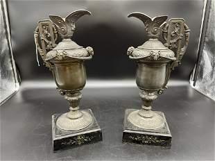 Pair of Antique Figural Ewers