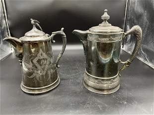 Two Victorian Silverplate Water Tankard