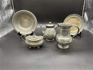 Five Pieces Antique Pewter