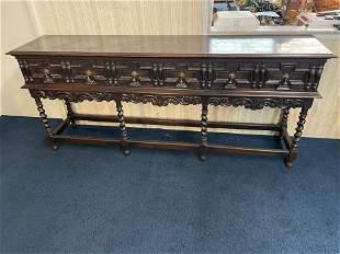 19thC Jacobean Oak Twist Sideboard