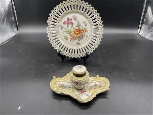 Two Pieces Dresden Porcelain