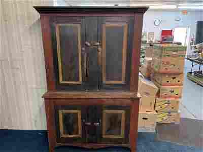 Outstanding Tri Color PA Stepback Cupboard Ca. 1830