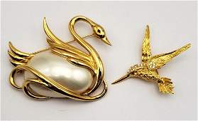 VINTAGE GOLD TONED SWAN AND HUMMINGBIRD