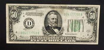 1934A $50 FEDERAL RESERVE NOTE