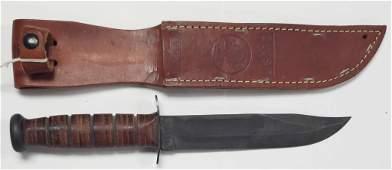 Vintage USMC KA-BAR Fighting Knife W/Sheath