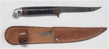 Vintage Small Western Hunting Knife W/Sheath