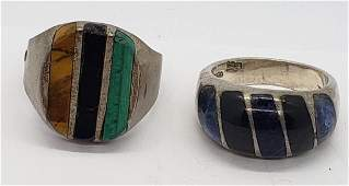 2MEXICO STERLING MENS RINGS W INLAY DESIGN