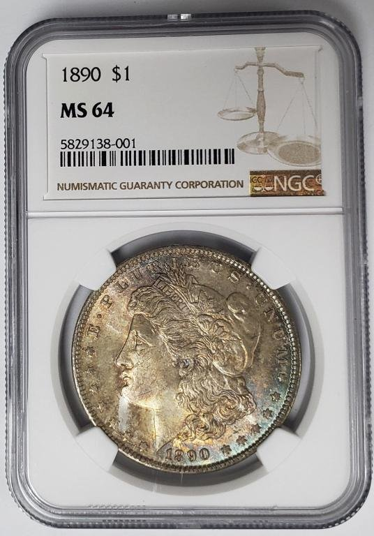 1890-P Morgan Silver Dollar $1 NGC MS64