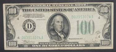 1934C $100 FEDERAL RESERVE NOTE