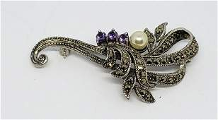 VINTAGE STERLING MARCASITE BROOCH WITH
