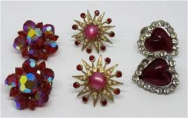 3PAIRS OF VTG TWIST BACKCLIP ON RED EARRINGS