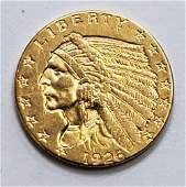 1926 INDIAN HEAD $2.50 GOLD COIN
