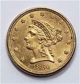 1860 LIBERTY HEAD $2.50 GOLD COIN