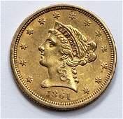 1861 LIBERTY HEAD $2.50 GOLD COIN - AU