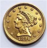 1896 LIBERTY HEAD $2.50 GOLD COIN