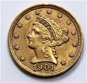 1901 LIBERTY HEAD $2.50 GOLD COIN