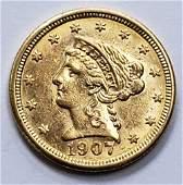 1907 LIBERTY HEAD $2.50 GOLD COIN