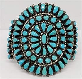 THICK! NAVAJO STERLING CUFF WITH TURQUOISE